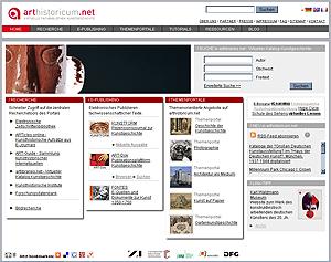 Screenshot: arthistoricum.net - Virtuelle Fachbibliothek Kunstgeschichte