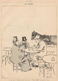 Zeichnung: Zwei Herren und eine Frau mit Kind auf dem Schoß im Café. Im Hintergrund steht ein Gaul.