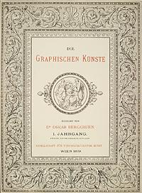 Mit Ranken verziertes Titelblatt des ersten Jahrgangs 1879, redigiert von Oskar Berggruen