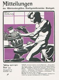 Holzschnitt: Mann beim Bemalen einer Vase