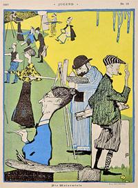 'Die Malerwiese' von Bruno Paul aus: Jugend 1897, Bd.1, Nr. 19, S. 301