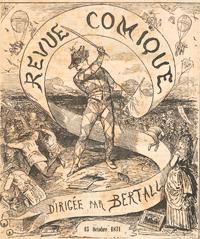 Zeichnung: Harlequin-Figur schwenkt Fahne und Stock über Menschenmasse