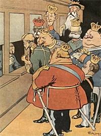 Zweifelhafte Wertobjekte: Europäische Monarchen drängeln sich vor einem Versicherungsschalter, um ihre Kronen zu versichern.