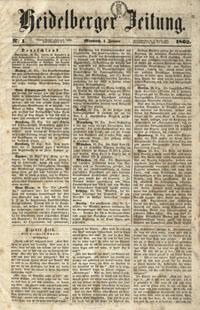 Titelblatt der Heidelberger Zeitung von 1862