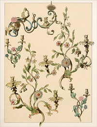 Heft 7, 1894: Litographie: Bemalte schmiedeeiserne Wandleuchter